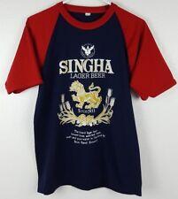 Singha Lager Beer Small T Shirt Blue Red Bangkok Thailand