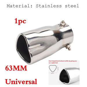 Universal 63MM Car Exhaust Pipe Tip Muffler Heart Shaped Silver Stainless Steel