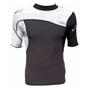 Mens Body Glove Prime Short Sleeve Rash Vest Guard Black White