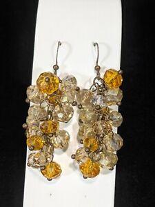 "Bronze Tone Smokey Brown Beige Glass Cluster Dangle Earrings 2"""