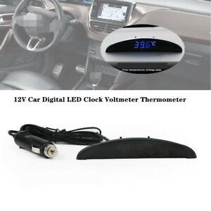 12V LED Digital Thermometer/Voltmeter/Alarm Clock Gauge Universal Car Dash Panel