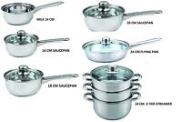 Stainless Steel Saucepan With Glass Lid  -Induction Base - Kitchen Essential