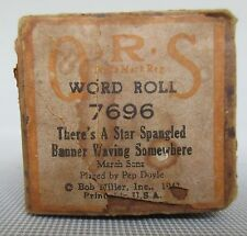 "Q R S Player Piano Word Roll ""There's A Star Spangled Banner Waving Somewhere"""