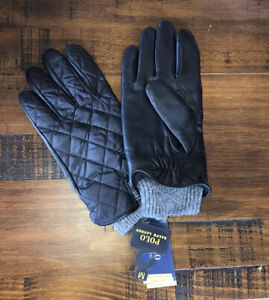 Polo Ralph Lauren Men's Quilted Field Gloves Nylon Leather Black Gray SZ M NWT