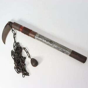 Japanese Antique wooden kusarigama sickle & chain Lance Ninja Kama Sword WG92