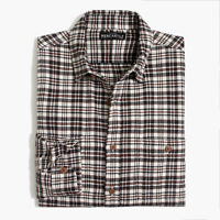 New J Crew Men's Heather Flannel Brown Cream Plaid Shirt Large or X-Large