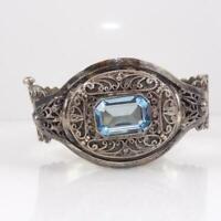 Vintage Antique Sterling Silver Filigree Blue Topaz Hinged Bangle Bracelet LFJ4