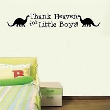 Thank Heaven for little boys dinosaur wall decor decal nursery vinyl art sticker