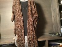 TERRA & SKY WOMENS LONG TWO PIECE KIMONO ANIMAL PRINT NWT NEW OX 1X 2X 3X 4X