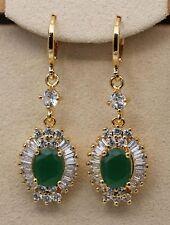 18K Yellow Gold Filled - 1.6'' Oval Flower Emerald Jade Topaz Lady Gems Earrings