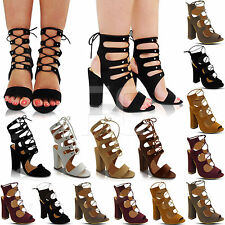 NEW LADIES HIGH BLOCK HEEL LACE UP CUT OUT BACK PEEP TOE ANKLE BOOTS SHOES SIZE