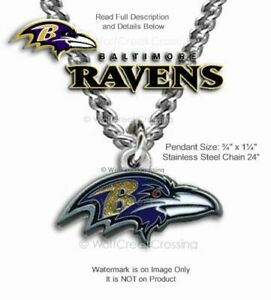 """BALTIMORE RAVENS NECKLACE 24"""" STAINLESS STEEL CHAIN NFL FOOTBALL - FREE SHIP #B"""