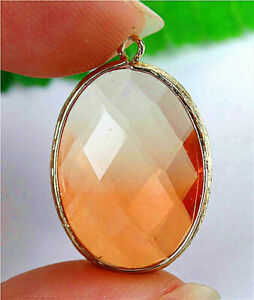 27x19x7mm Faceted Gold Wrapped Orange Titanium Crystal Oval Pendant Bead AP21037