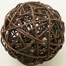 2 boule rotin diamètre 6 cm, marron. Décoration de mariage