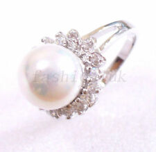 Pearl White Gold Plated Round Costume Rings