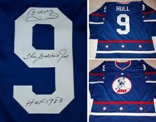 BOBBY HULL  AUTOGRAPHED  WHA ALL-STAR JERSEY W/THE GOLDEN JET/HOF83
