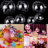 10x Christmas Tree Ornament Decor Clear Plastic Balls Transparent Can Open Craft