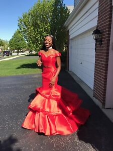 Prom Dress 2018 (red, two-piece, off-shoulder, long dress, Peaches Boutique)