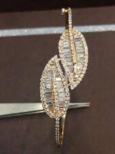 Pave 2.11 Cts Round Baguette Cut Diamonds Bangle Bracelet In Solid 14K Rose Gold