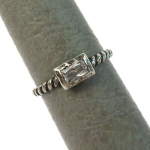 Size 7.25 Silpada R2462 Belle Fleur Rectangle Band Sterling Silver Stack Ring