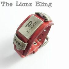 Urban Vintage style Men's Genuine Red Leather Band Bracelet w/ Buckle Closure