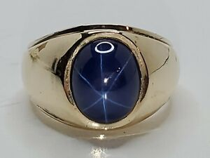 Mens 14k Solid Yellow Gold Blue Star Sapphire Solitaire Heavy Ring Size 9.75