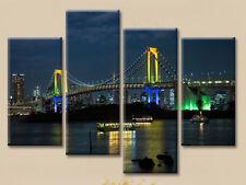 CITY HARBOUR LIGHTS LANDSCAPE LARGE CANVAS PRINT SET OF 4 (ON FRAME) WALL ART