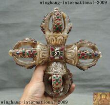 Old Tibetan crystal silver Filigree Inlay Dzi gem carved Vajra Dorje Phurp Faqi