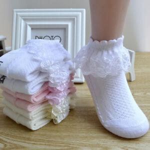 4 Pairs Girls Spring Lace Socks Children Princess Short Mesh Cotton Socks New