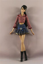 3in1 Fashion striated T-Shirt +denim dress +Boots clothes  For 11.5in.Doll