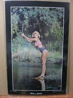 What a Catch! Hot girl 1977 Vintage Poster fishing man cave car garage Inv#1973