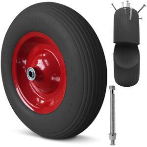 Schubkarrenrad Vollgummi PU Rad 4.80/4.00-8 mit Achse Ersatzrad Gummirad Reifen