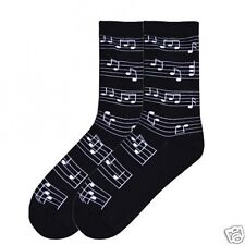 K.Bell Musical Notes Ladies Womans Fashion Black Cotton Blend Socks NWT