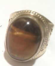 Brown Agate Size 9 Usa Seller Nepal Tibet Etched Silver Ring with iridescent