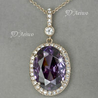 9K GF 9CT ROSE GOLD MADE WITH SWAROVSKI CRYSTAL OVAL AMETHYST PENDANT NECKLACE