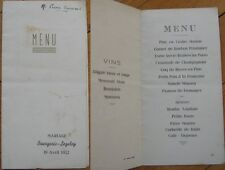 1952 French Wedding Menu: ''Bourgeois-Legeley'' - Dijon