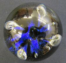 CAITHNESS MOON FLOWER PAPERWEIGHT COBALT BLUE ART GLASS MOONFLOWER