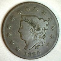 1826 Coronet Large Cent US Copper Type Coin VG Very Good N9 Variety Penny M1