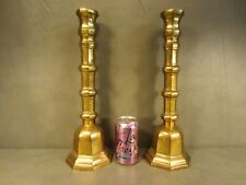"""Tall Pair of 16"""" Brass Candle Stick Holders Church Altar Wedding Stage"""