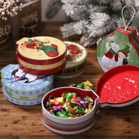 Christmas Tin Gift Box Candy &Cookie Storage Round Box Hanging Tree Xmas Decor