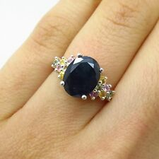 925 Sterling Silver Real Multi-Color Sapphire Gemstone Wide Ring Size 5