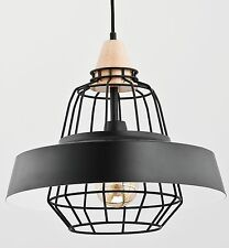TAMARIS Modern metal wood pendant ceiling light in black Vintage Industrial