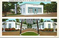 Savannah Georgia Southern Motor Court Roadside Motel Hwy 17 Linen 1940s Postcard
