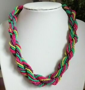 Bohemian Retro Multi Coloured Rainbow Twist Braided Rope Seed Beaded Necklace