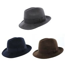 Failsworth Chester 100% Wool Trilby Navy/Grey/Brown