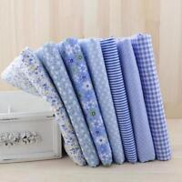 7 Pcs Blue Cotton Fabric Sets Sewing Crafts Quilting Textile Patchwork Materials