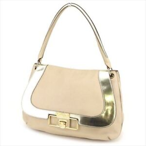 Anya Hindmarch Shoulder bag Beige Gold leather Woman Authentic Used C3511