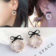 Black Bowknot Stud Earrings Round Small Simulated Pearl Earrings For Women Girl