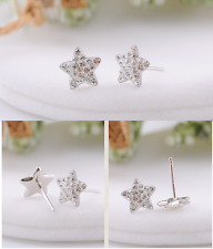 Crystal Stud Earrings Gift Box K16 925 Sterling silver Star White Topaz Gemstone