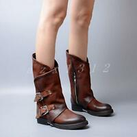 Ladies womens leather punk buckle round toe riding mid calf boots biker shoes